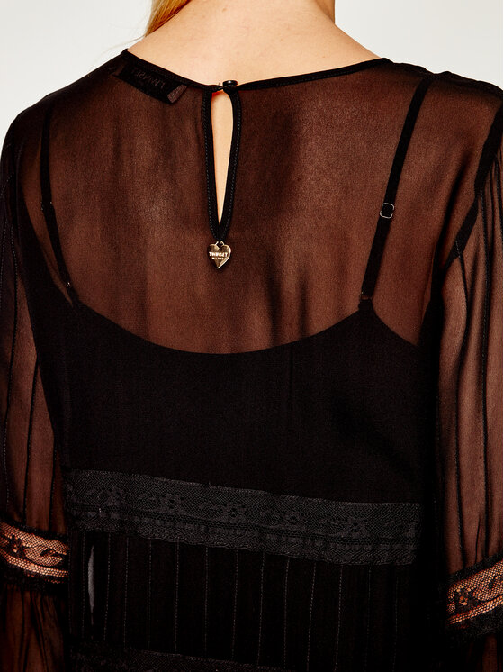 TWINSET TWINSET Φόρεμα κοκτέιλ 201TT2082 Μαύρο Regular Fit