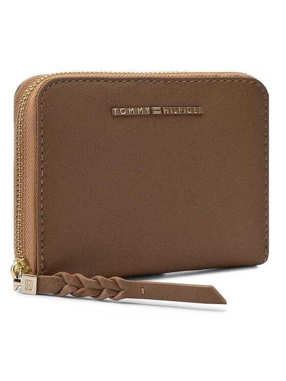 Tommy Hilfiger Tommy Hilfiger Голям дамски портфейл Leather Twist Compact Wallet AW0AW03730 Кафяв