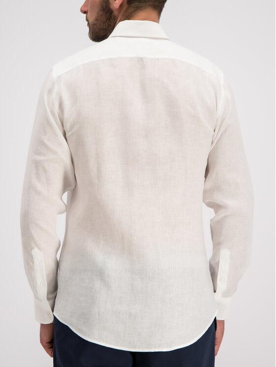 Trussardi Jeans Trussardi Jeans Cămașă Shirt Close Fit Miami Collar Yard Dyed Lin 52C00075 Alb Regular Fit