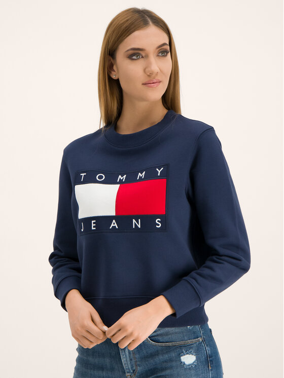 Tommy Jeans Tommy Jeans Mikina Flag DW0DW07414 Tmavomodrá Regular Fit