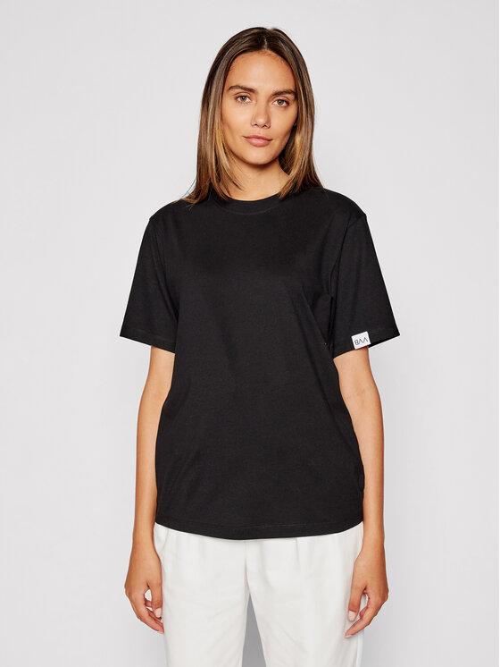Victoria Victoria Beckham Marškinėliai Logo Tag 2321JTS003085A Juoda Regular Fit