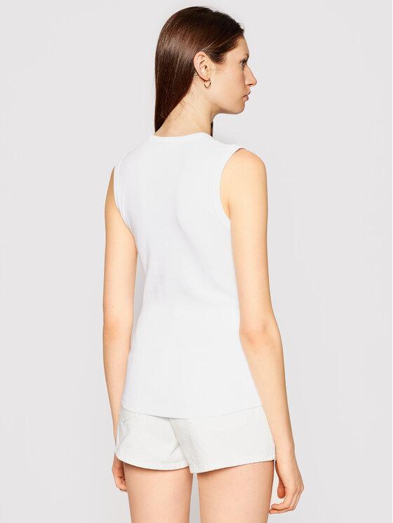 Calvin Klein Calvin Klein Bluzka Rib Vest K20K202608 Biały Slim Fit