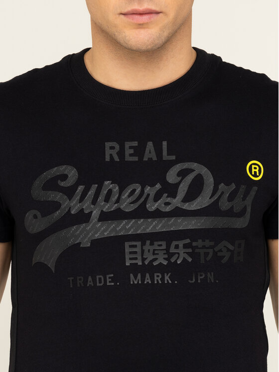 Superdry Superdry T-Shirt VL Tonal Tape Tee M1000112A Czarny Regular Fit