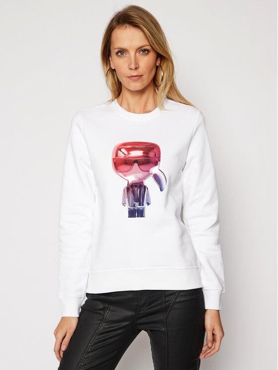 KARL LAGERFELD Bluza 3D Ikonik Choupette 210W1825 Biały Regular Fit