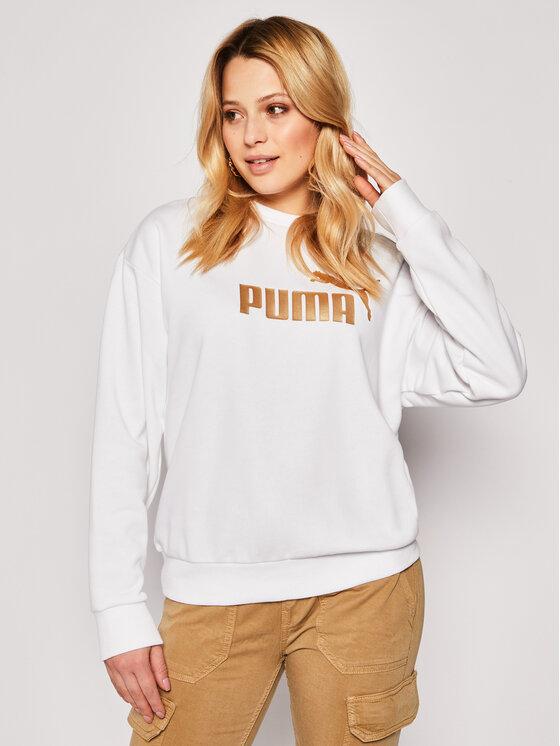 Puma Puma Mikina Ess+ Metallic Crew Sweat 582408 Bílá Relaxed Fit