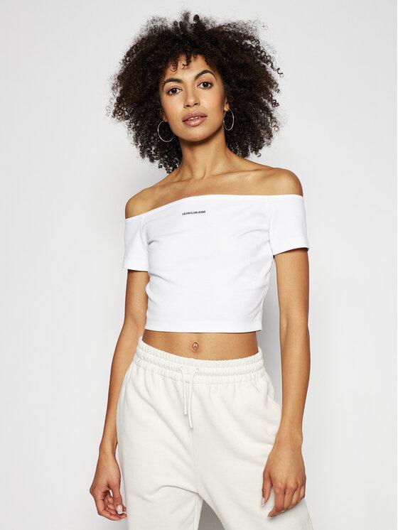 Calvin Klein Jeans Bluzka J20J215700 Biały Slim Fit