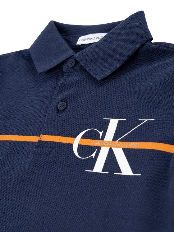 Calvin Klein Jeans Calvin Klein Jeans Polo Monogram Stripe IB0IB00478 Granatowy Regular Fit