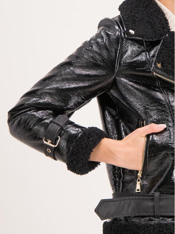 TWINSET TWINSET Dirbtinės odos striukė 192MT2030 Juoda Regular Fit