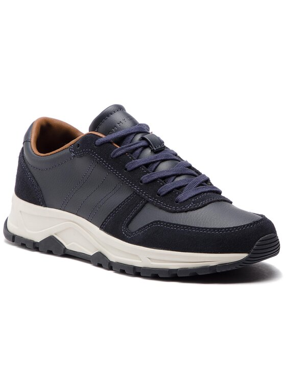 Tommy Hilfiger Tommy Hilfiger Sneakersy Leather Lighweight Runner FM0FM02010 Granatowy