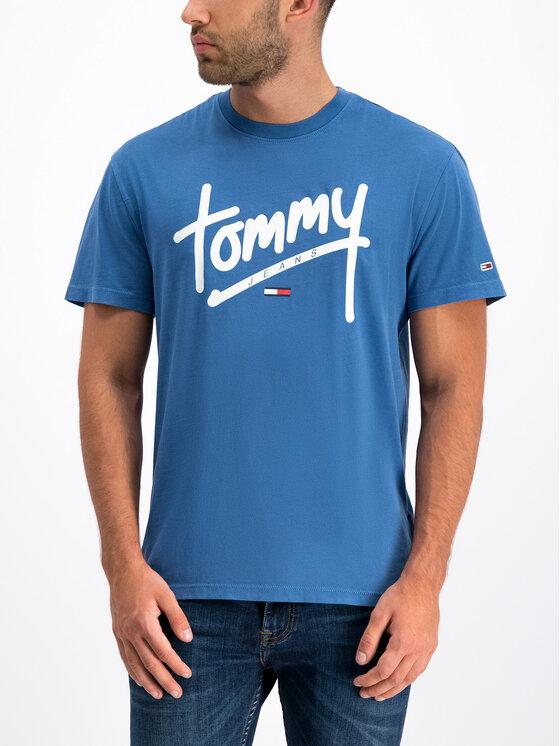 Tommy Jeans Tommy Jeans Marškinėliai Handwriting DM0DM06478 Mėlyna Regular Fit