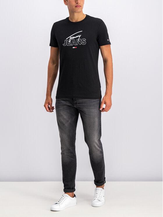 Tommy Jeans Tommy Jeans Tricou Script DM0DM07011 Negru Regular Fit