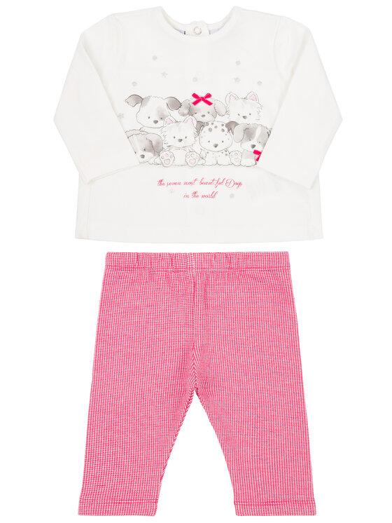 Primigi Primigi Σετ μπλουζάκι και κολάν Little Crazy World 44196551 Λευκό Regular Fit