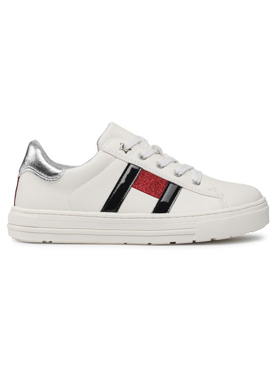 Tommy Hilfiger Tommy Hilfiger Sneakersy Low Cut Lace-Up Sneaker T3A4-31023-0813 S Biały