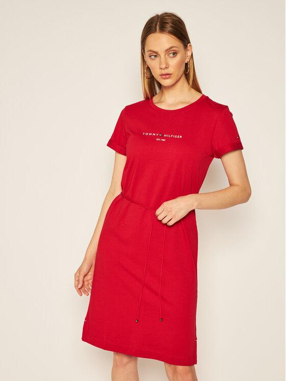 Tommy Hilfiger Tommy Hilfiger Každodenní šaty Th Ess WW0WW28189 Červená Regular Fit