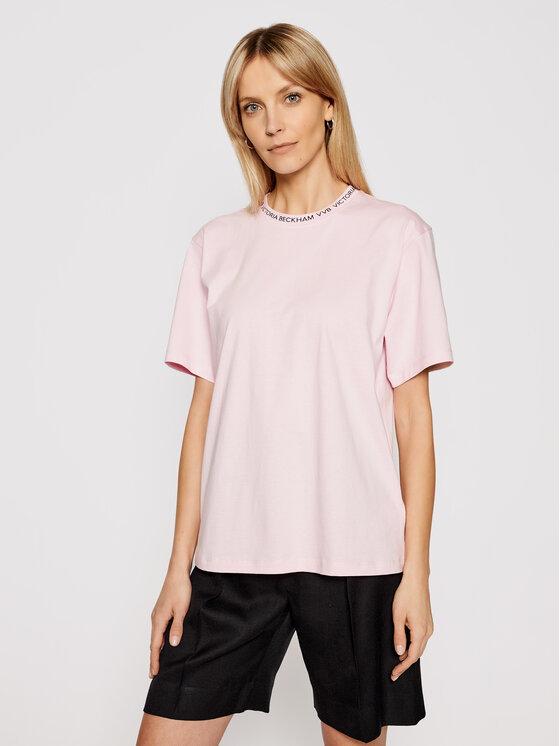 Victoria Victoria Beckham Marškinėliai Logo Rib 2221JTS002471A Rožinė Regular Fit