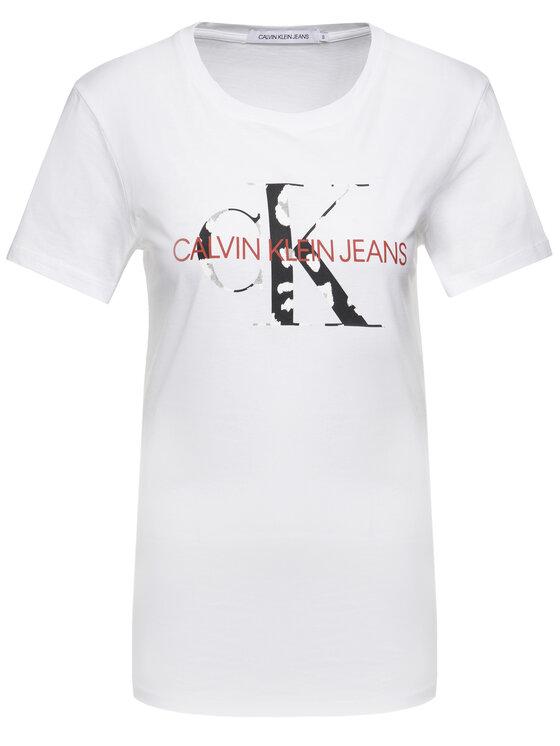 Calvin Klein Jeans Calvin Klein Jeans Tricou Monogram Logo J20J213035 Alb Slim Fit