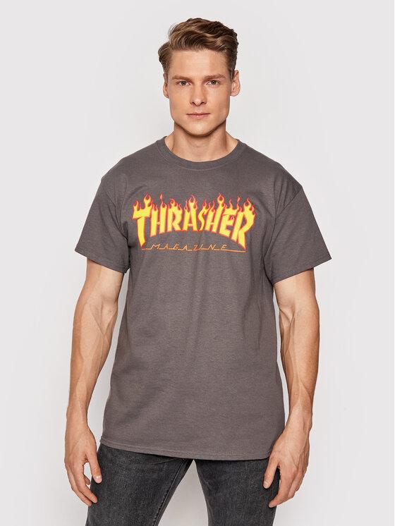 Thrasher Marškinėliai Flame Pilka Regular Fit