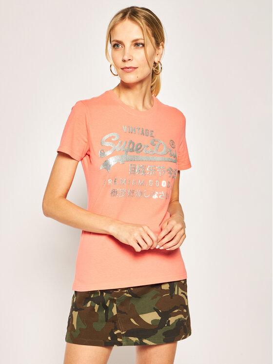 Superdry Superdry T-shirt Metallic Entry Tee W1010049A Orange Regular Fit