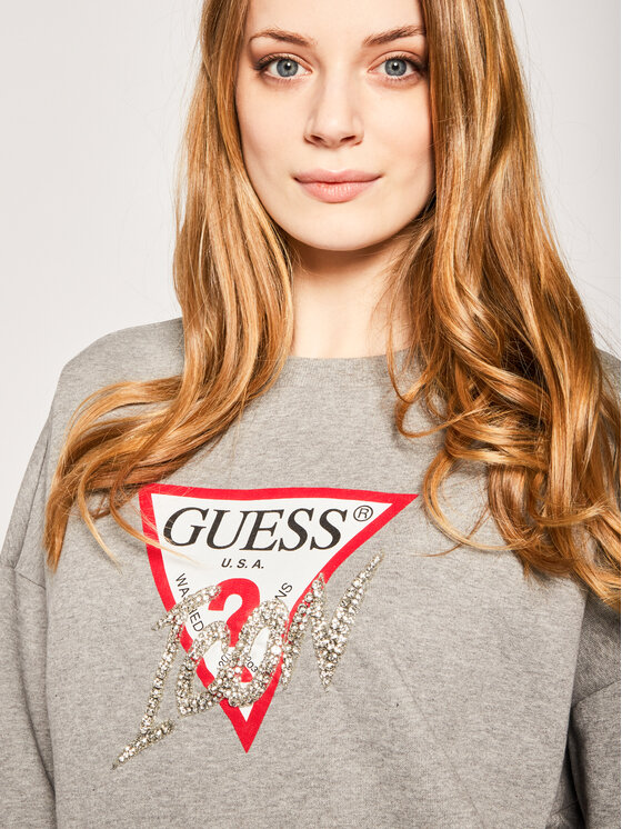 Guess Guess Суитшърт Icon Fleece W0GQ18 K68I0 Сив Oversize