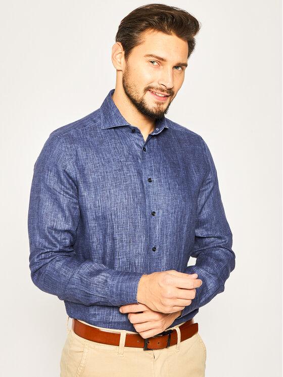 Emanuel Berg Marškiniai Harvard PEB47866 Tamsiai mėlyna Modern Fit