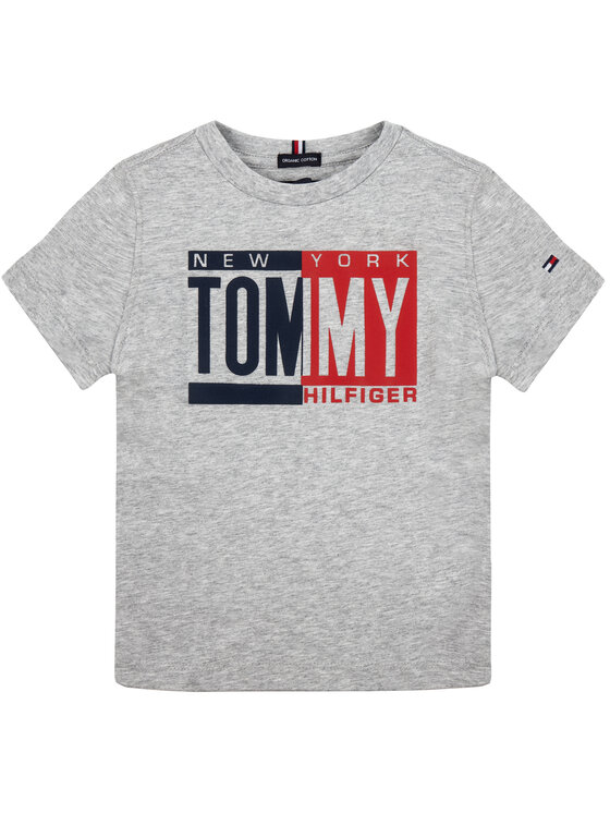 TOMMY HILFIGER TOMMY HILFIGER Тишърт Puff Print Tee Ss KB0KB04994 Сив Regular Fit