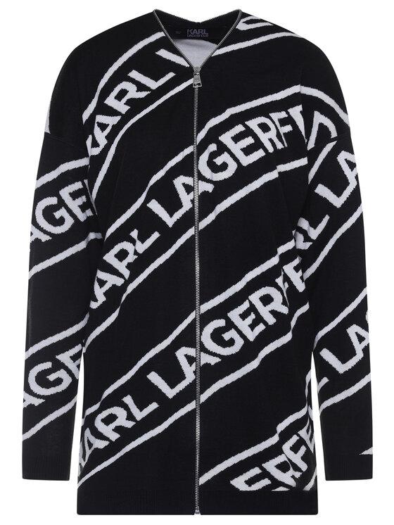 KARL LAGERFELD KARL LAGERFELD Sweter Zip Logo 201W2015 Czarny Regular Fit