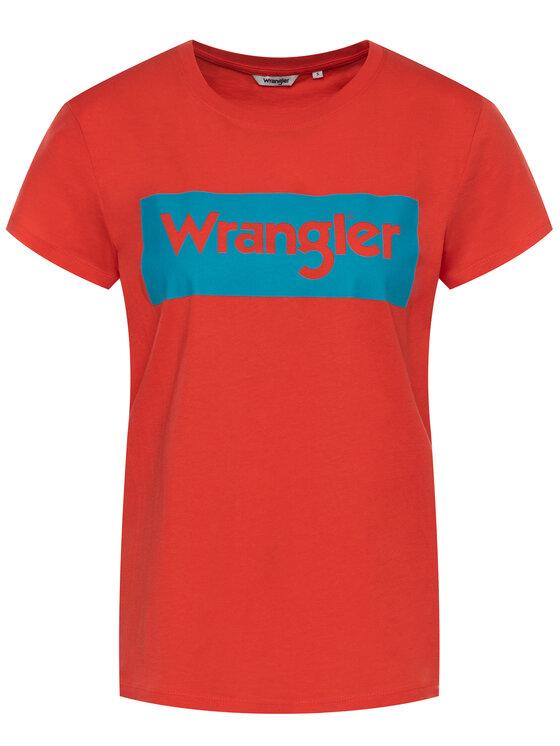 Wrangler Wrangler T-Shirt Logo Tee W7P3EVXBO Czerwony Regular Fit