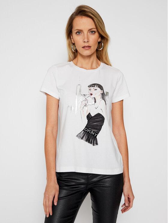 DKNY DKNY T-Shirt P0MZKDNA Biały Regular Fit