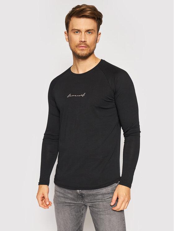 LaManuel Marškinėliai ilgomis rankovėmis Loyalty Juoda Regular Fit