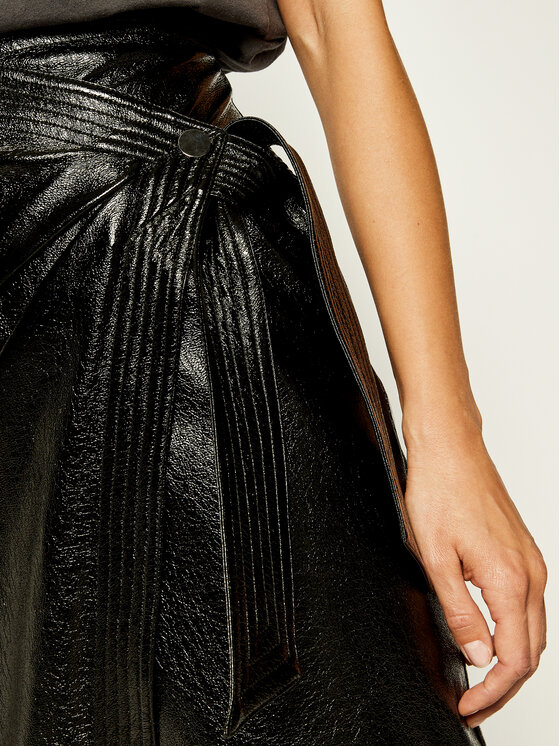 Manila Grace Manila Grace Bőr szoknya N181NU Fekete Slim Fit