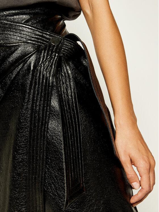 Manila Grace Manila Grace Kožená sukně N181NU Černá Slim Fit