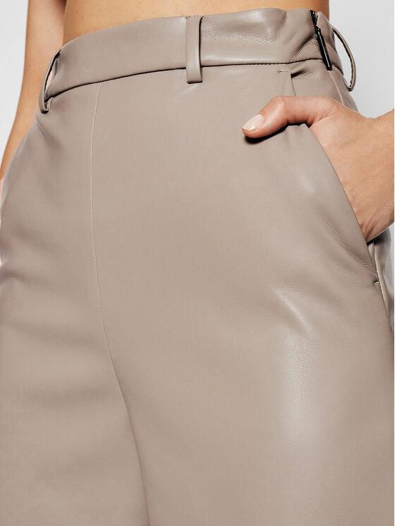 MSGM MSGM Spodnie z imitacji skóry 3041MDP06B 217101 Szary Regular Fit