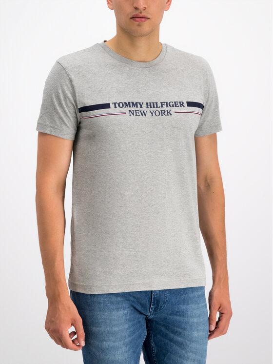 Tommy Hilfiger Tommy Hilfiger Marškinėliai Stripe MW0MW10846 Pilka Regular Fit