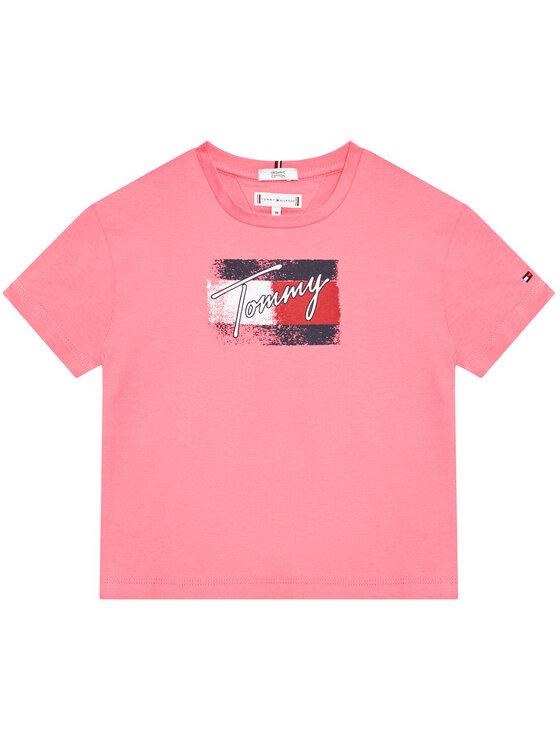 Tommy Hilfiger Tommy Hilfiger T-Shirt Flag Print KG0KG05909 M Różowy Regular Fit