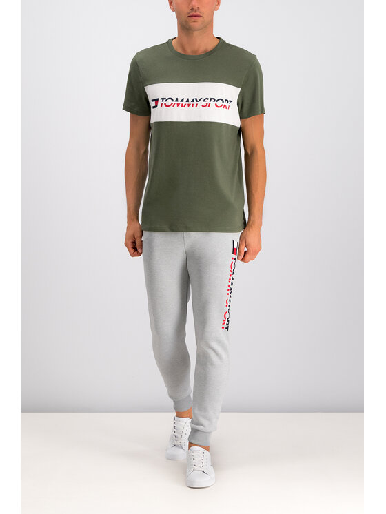 Tommy Sport Marškinėliai Logo S20S200082 Žalia Regular Fit