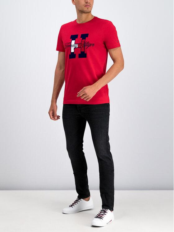 Tommy Hilfiger Tommy Hilfiger T-Shirt Flag Script MW0MW11799 Czerwony Regular Fit
