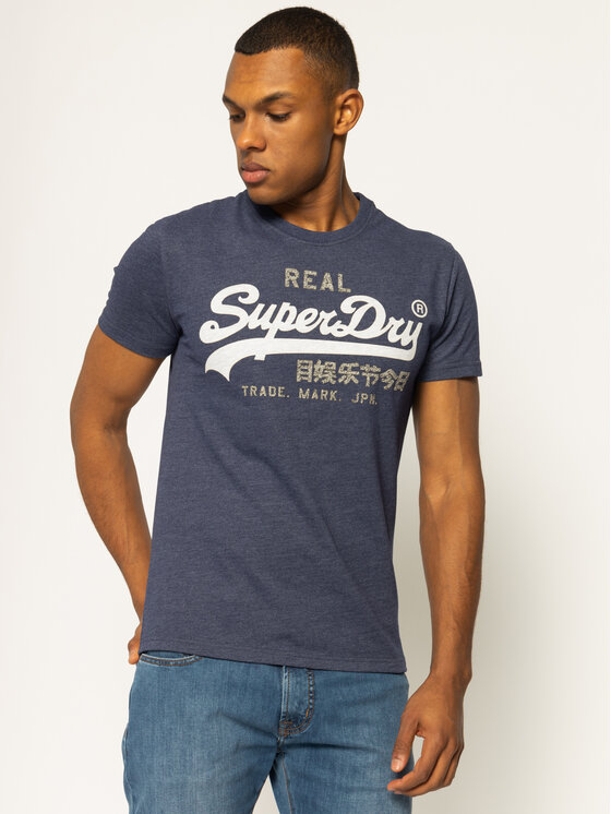 Superdry Superdry Póló Premium Goods Heat Sealed Tee M1000107A Sötétkék Regular Fit