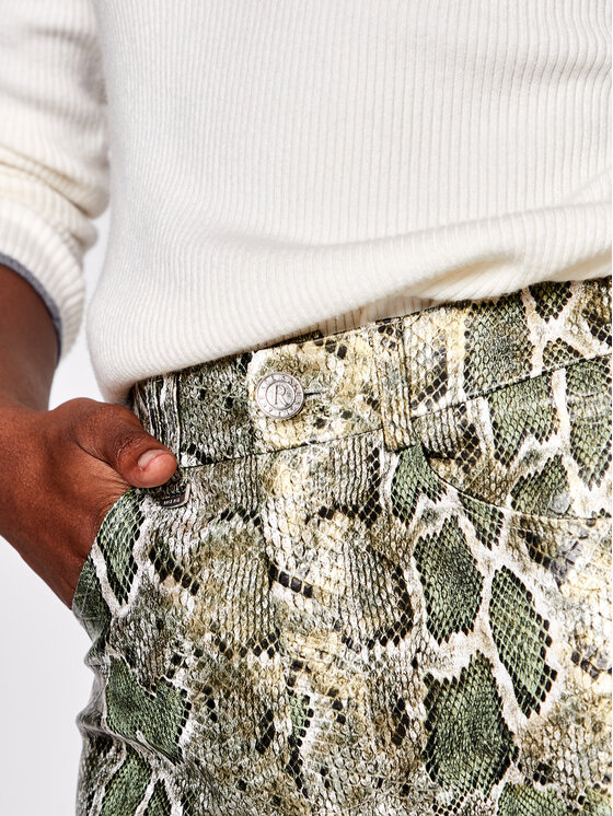 Rage Age Rage Age Spodnie skórzane Agata Zielony Slim Fit