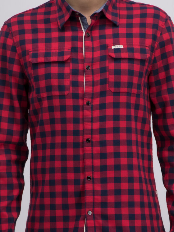 Guess Guess Camicia M93H08 WBRM0 Rosso Regular Fit