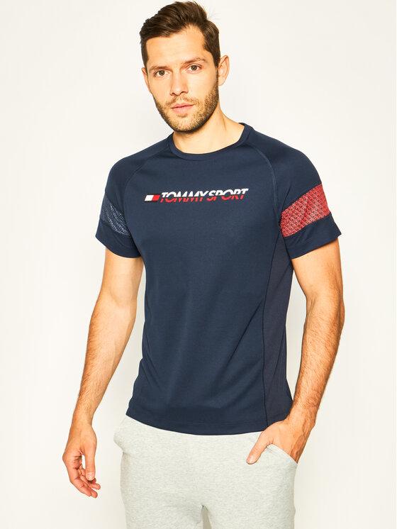 Tommy Sport Marškinėliai Glow Performance S20S200340 Tamsiai mėlyna Loose Fit