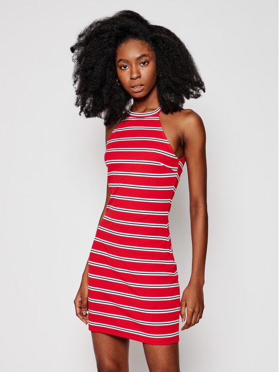 Tommy Jeans Sukienka codzienna Striped Racer Bodycon DW0DW09844 Czerwony Slim Fit