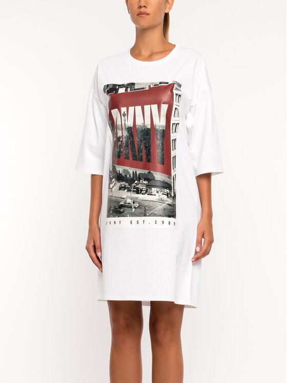 DKNY DKNY Φόρεμα καθημερινό P9DD9BOB Λευκό Regular Fit