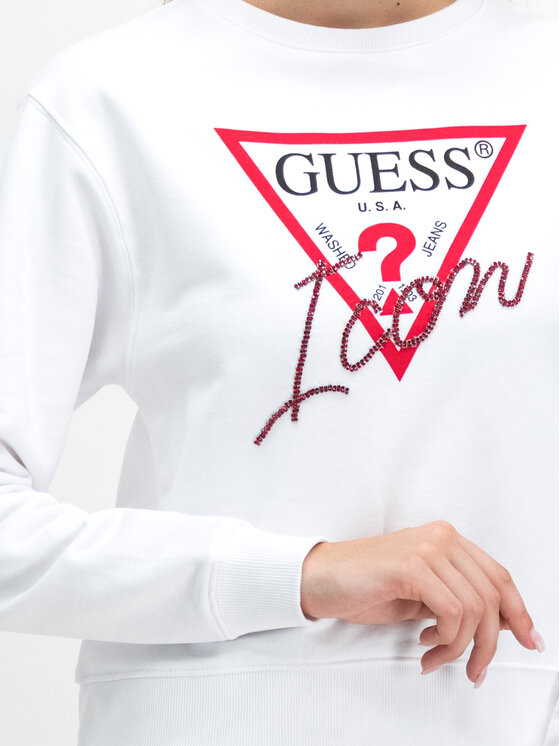 Guess Guess Bluza Icon W94Q72 K68I0 Biały Regular Fit