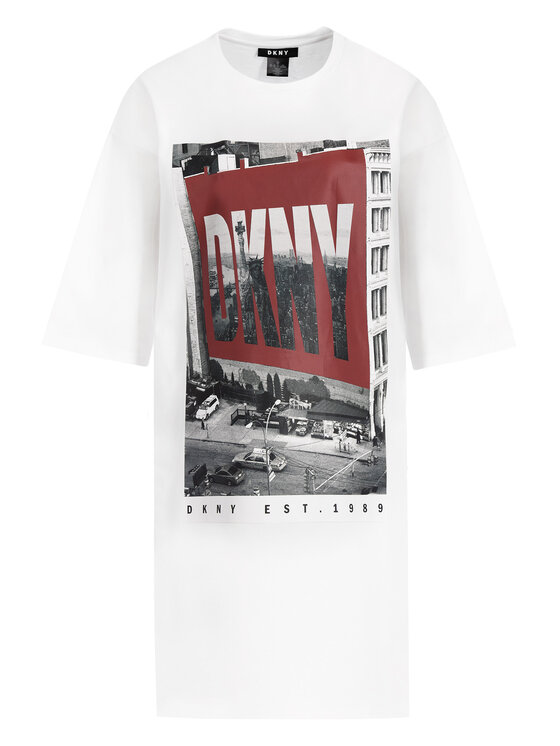 DKNY DKNY Sukienka codzienna P9DD9BOB Biały Regular Fit