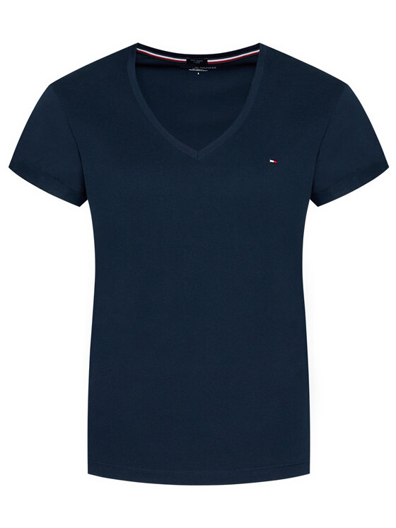 Tommy Hilfiger Tommy Hilfiger T-Shirt Low V UW0UW00676 Tmavomodrá Regular Fit