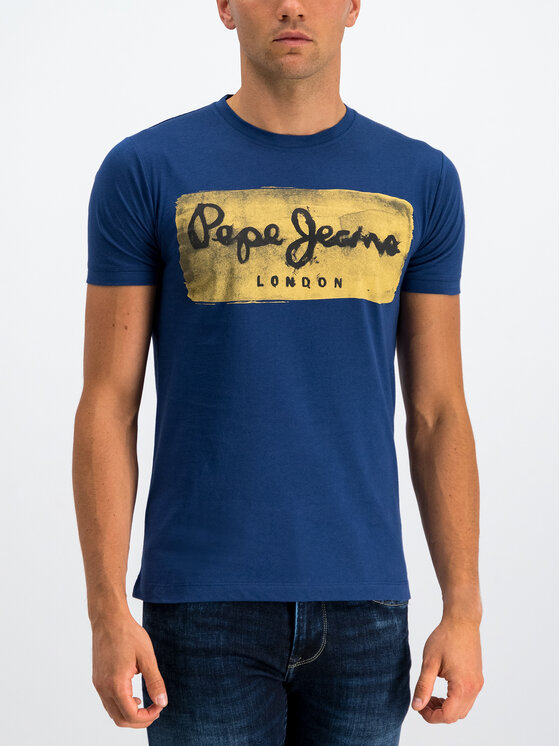 Pepe Jeans Pepe Jeans T-Shirt Charing PM503215 Dunkelblau Slim Fit