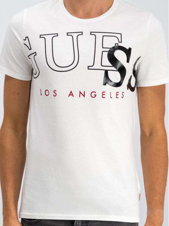 Guess Guess T-Shirt Borderline M94I49 I3Z00 Biały Slim Fit