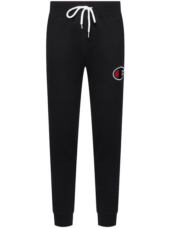 Champion Champion Pantaloni trening Satin C Logo 214191 Negru Regular Fit