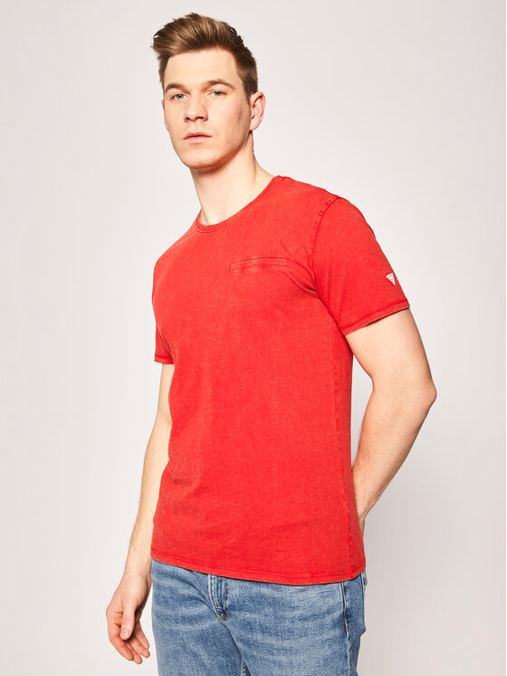 Guess T-Shirt Pocket Tee M0GI54 K6XN0 Czerwony Slim Fit
