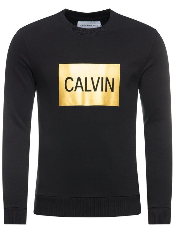 Calvin Klein Jeans Calvin Klein Jeans Pulóver Metallic Logo J30J313214 Fekete Regular Fit